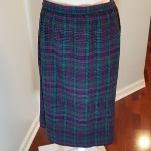 Alfred Dunner 14 Made in USA Wool Plaid Skirt VGUC